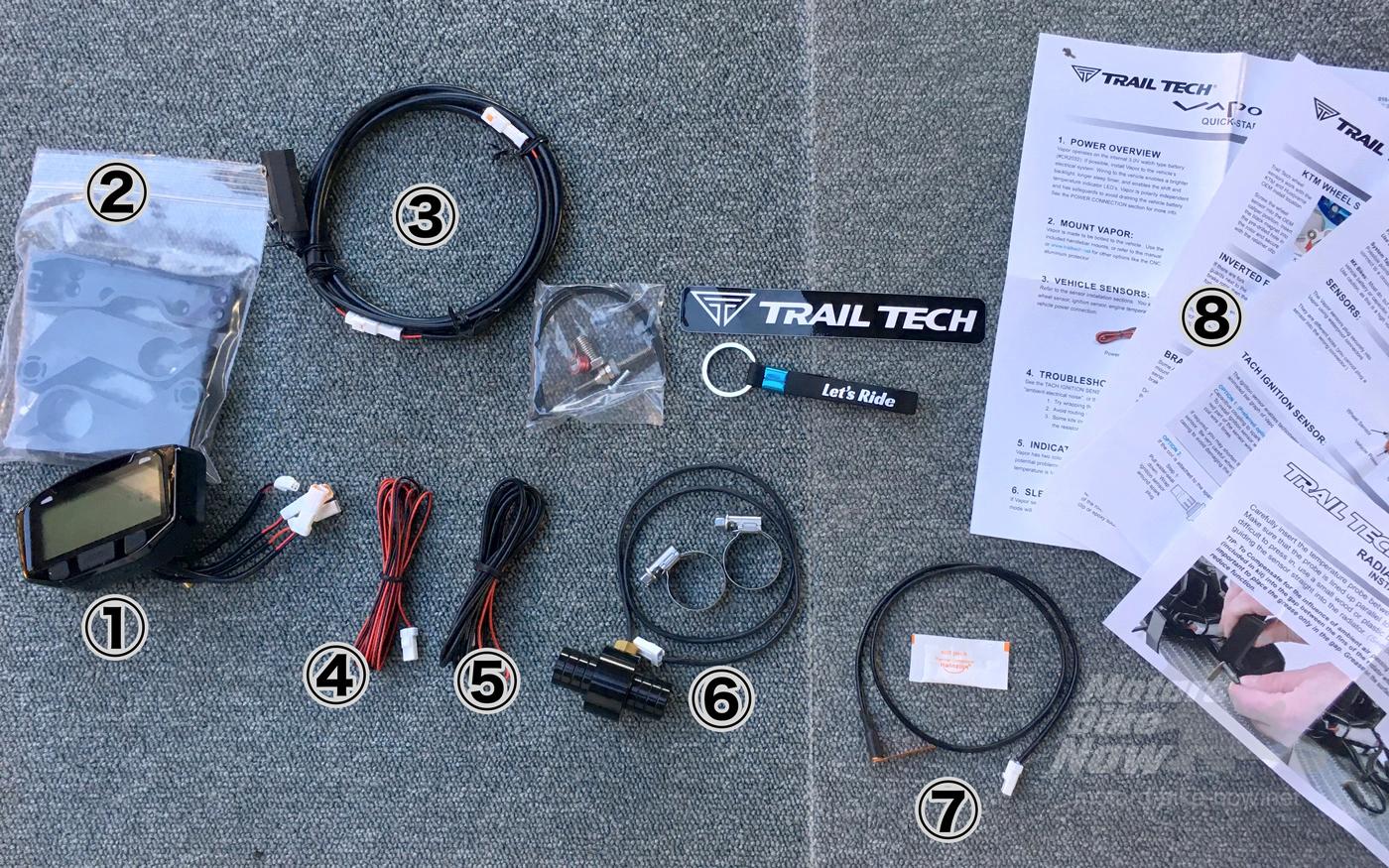 Trail Tech Vapor デジタルメーターキット CRF450L用 キット内容